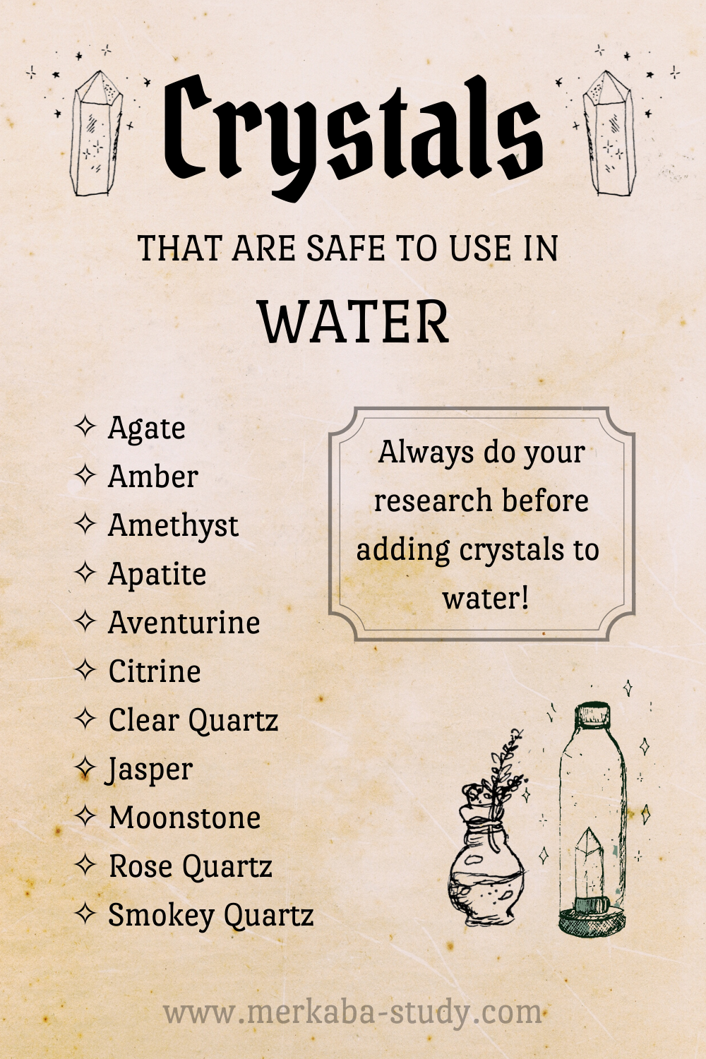 Crystals that are safe to use in water ✧ Crystal Elixir ✧Gem infused water