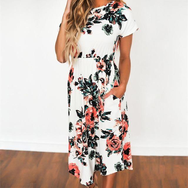 4e19a9c09e6cb 15 Style Short Sleeve Print Floral Pink Big Flower Long Maxi Dress ...