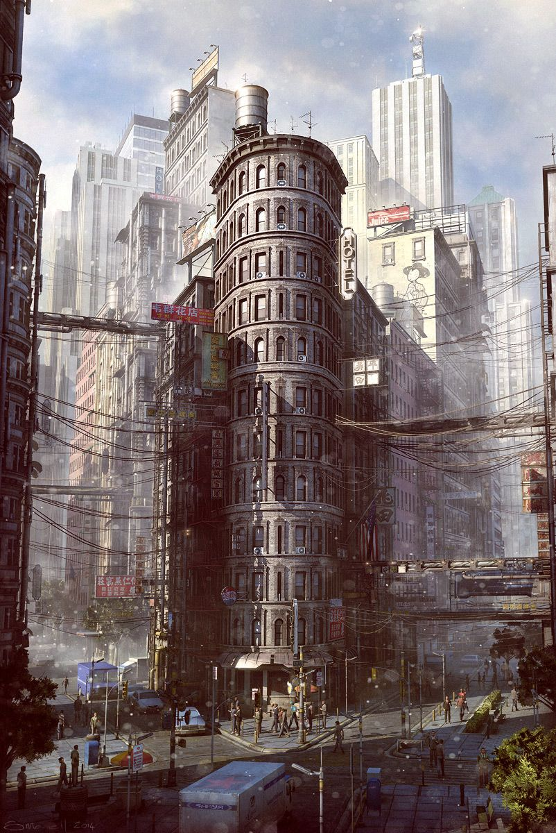 Dessin Ville 3d Cable Corner By Stefan Morrell Matte Painting 3d Cgsociety