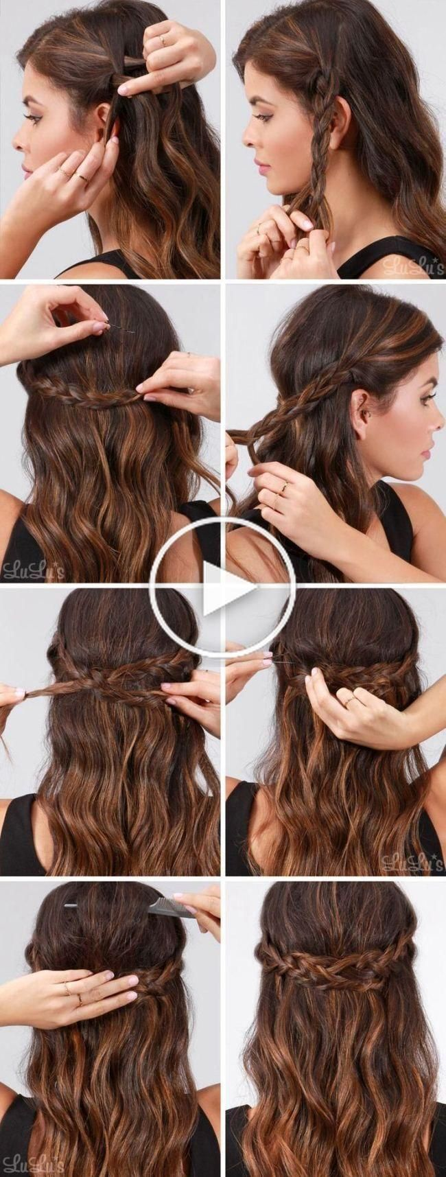 Quick simple formal party hairstyles for long hair DIY ideas 2018 Flm Reise textile pants 2.0 ...