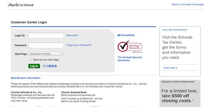 Schwab Login Login Page Web Browser Forgot Your Password