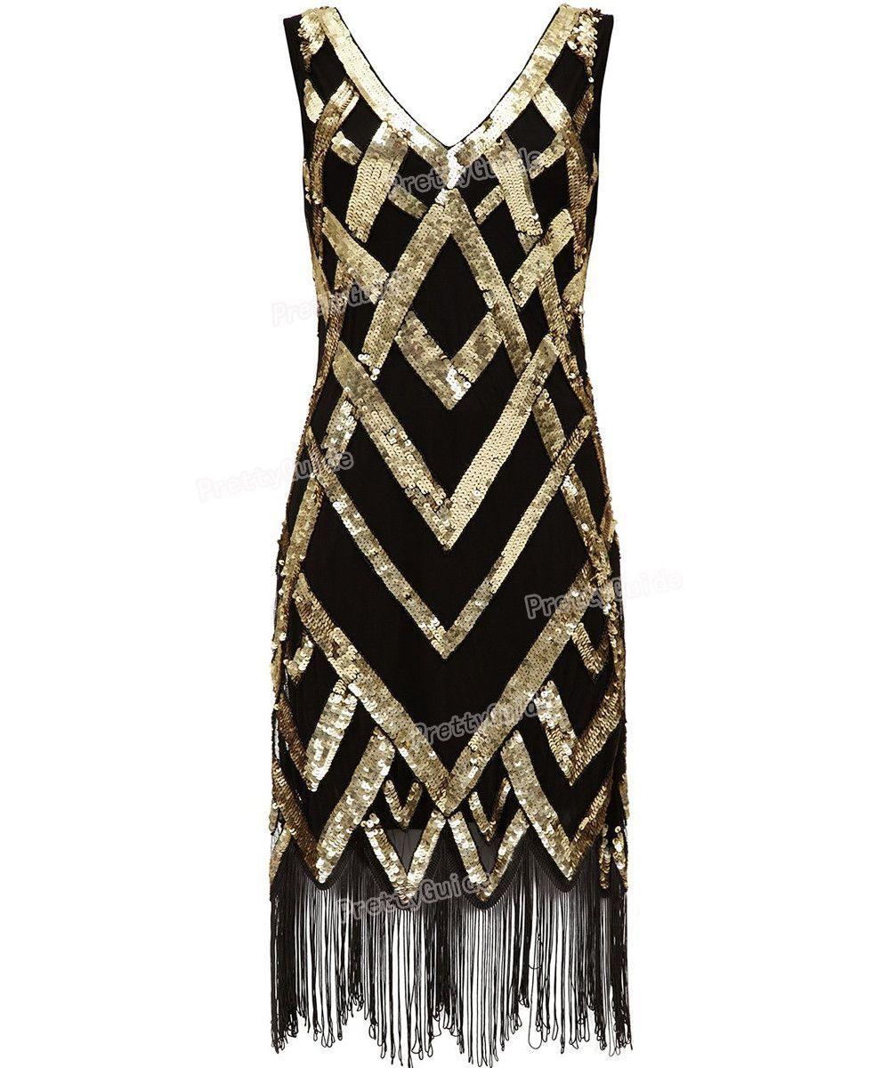 Us vintage beads sequin crisscross fringe hem cocktail flapper