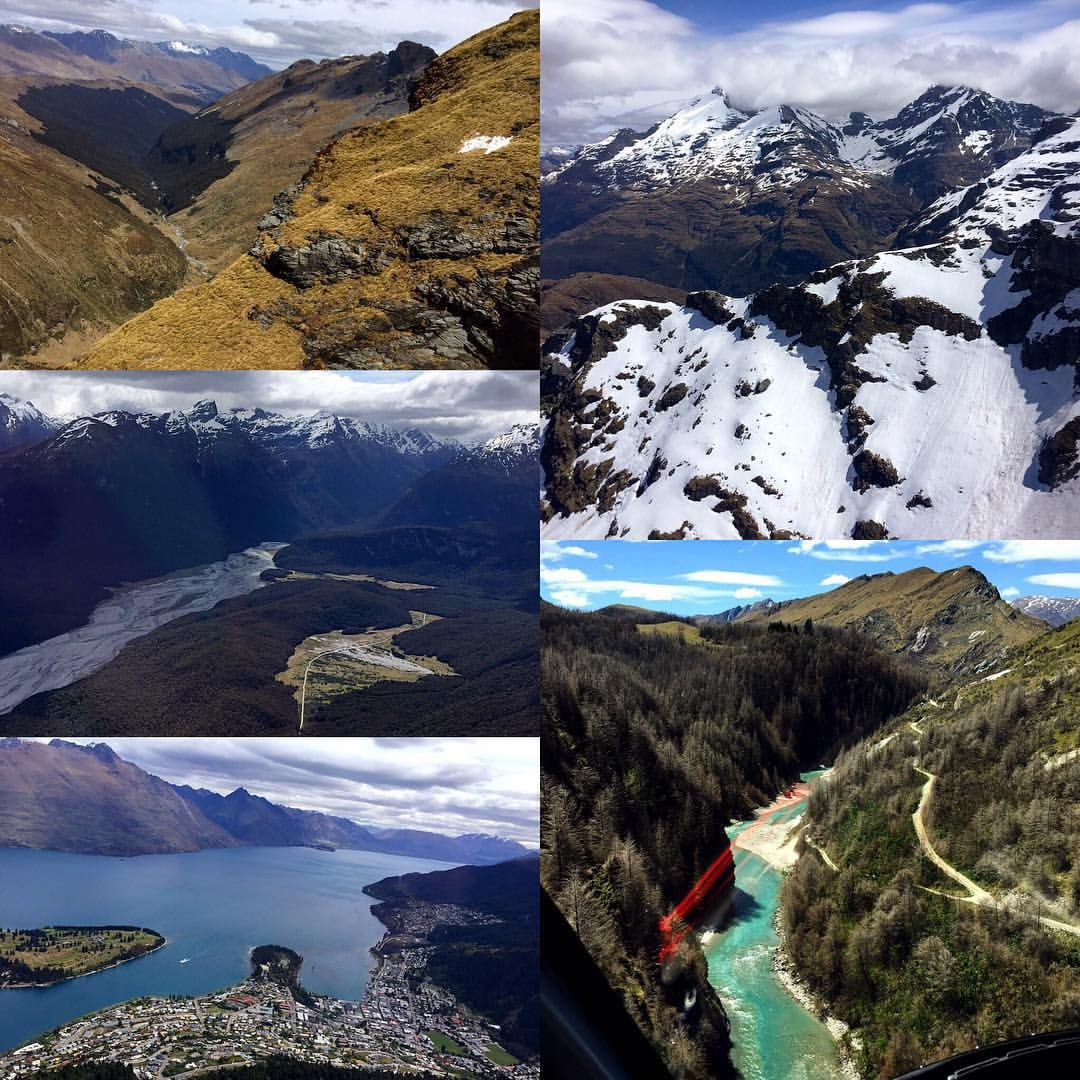 A little sampling of the many LOTR sites we saw on our helicopter tour today! Clockwise from upper left: the outskirts of Lothlorien; the lighting of the beacons (!!!!), Arwen vs. the Nazgul at the Ford of Bruinen(!!!); Queenstown (okay not a location but the city is too cool not to include!); and Isengard/Orthanc & Amon Hen. #newzealand #lordoftherings #NZmustdo #glaciersouthernlakeshelicopters