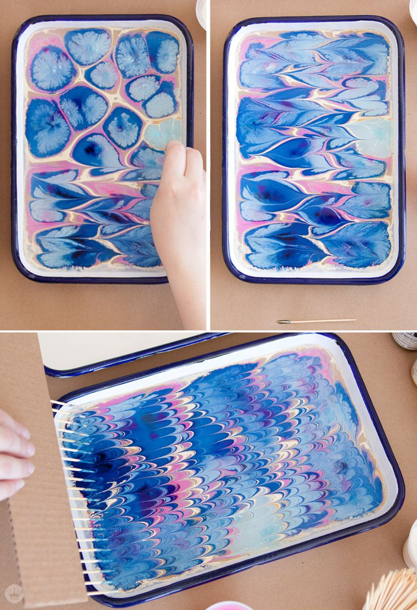 Make Your Own Marbled Paper Craft Ideas Paper Marble Painting