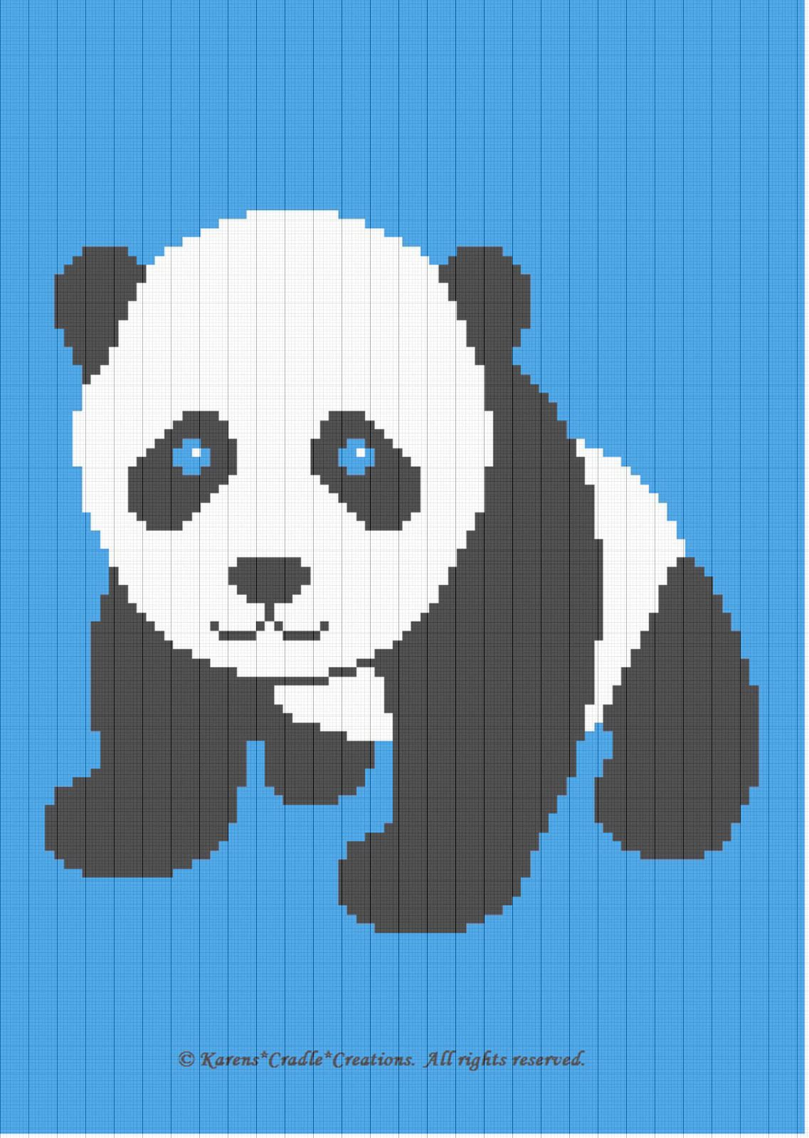 baby panda bear afghan pattern original graph pattern artwork karens cradle creations all rights reserved up for auction is a graph pattern that  [ 1137 x 1599 Pixel ]