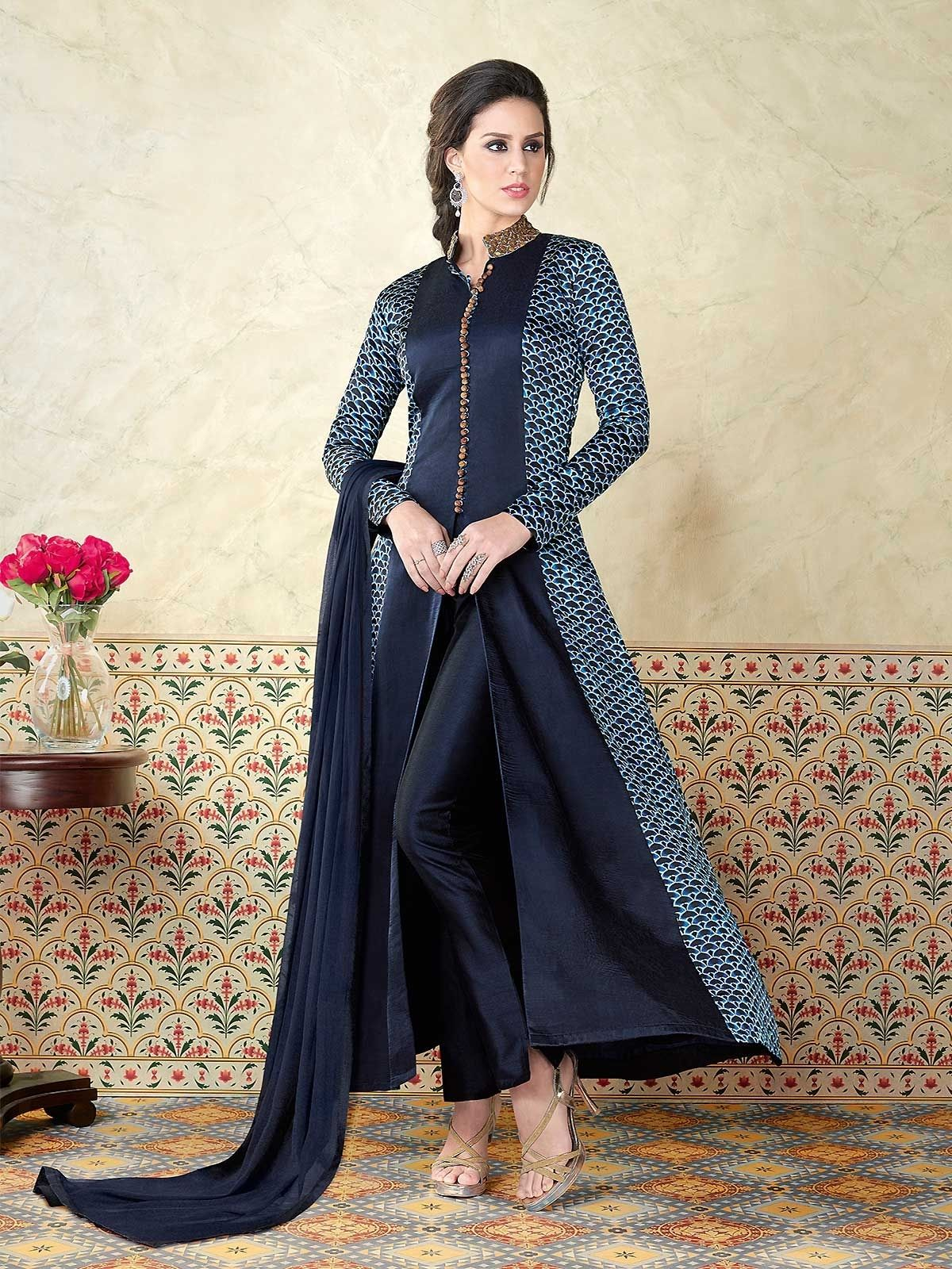 f8569bfa9b Get latest Party Wear Suits for women embroidered work done all over the  fabric kameez.