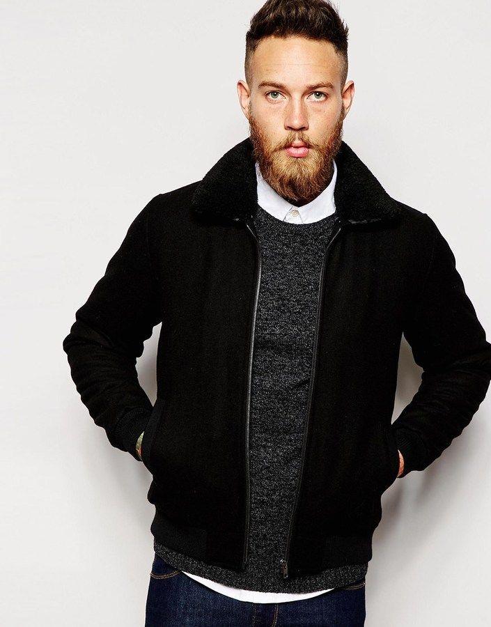 Black shearling collar jacket