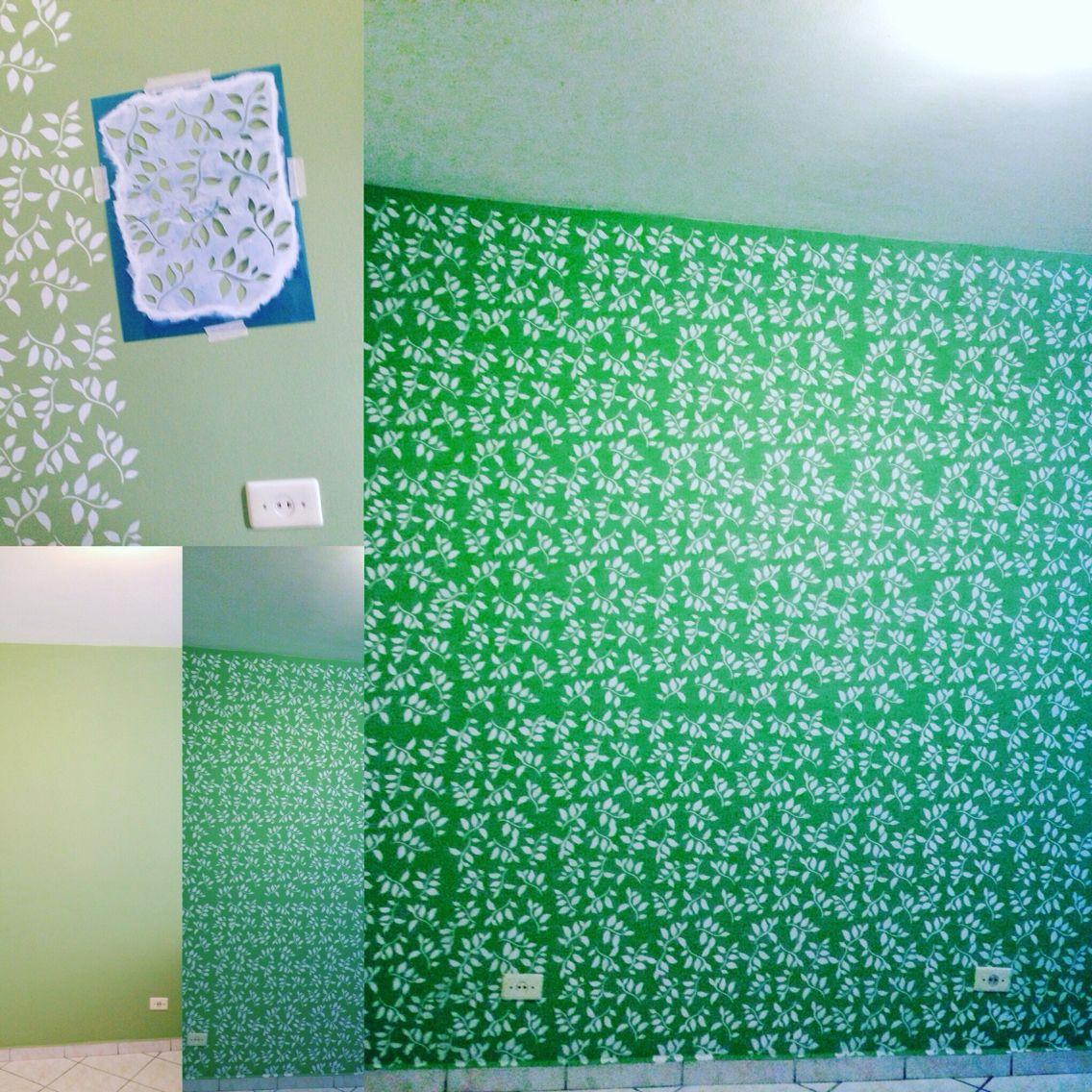 Decorando parede gastando pouquíssimo com #fassavcmesmo #stencil muito simples e fácil de fazer