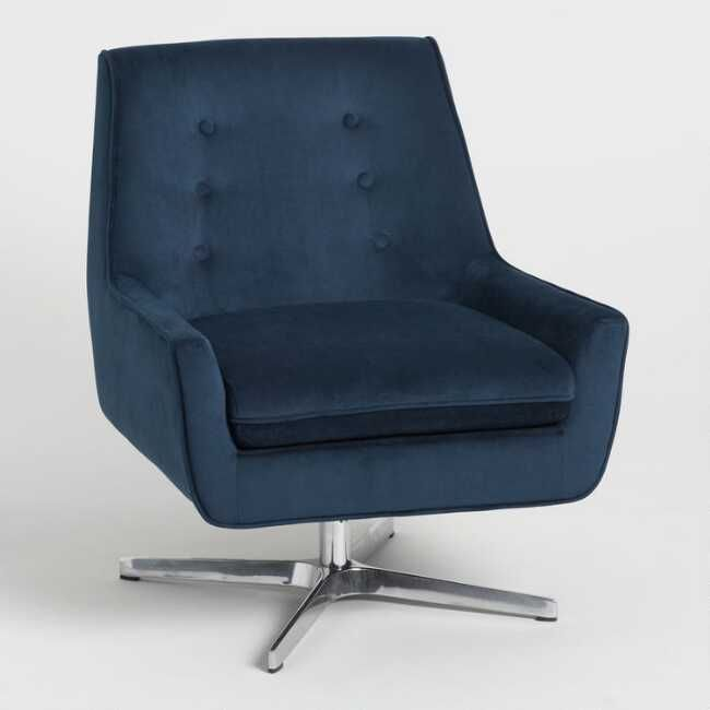 Stupendous Ink Blue Velvet Brooks Swivel Chair By World Market In 2019 Pabps2019 Chair Design Images Pabps2019Com
