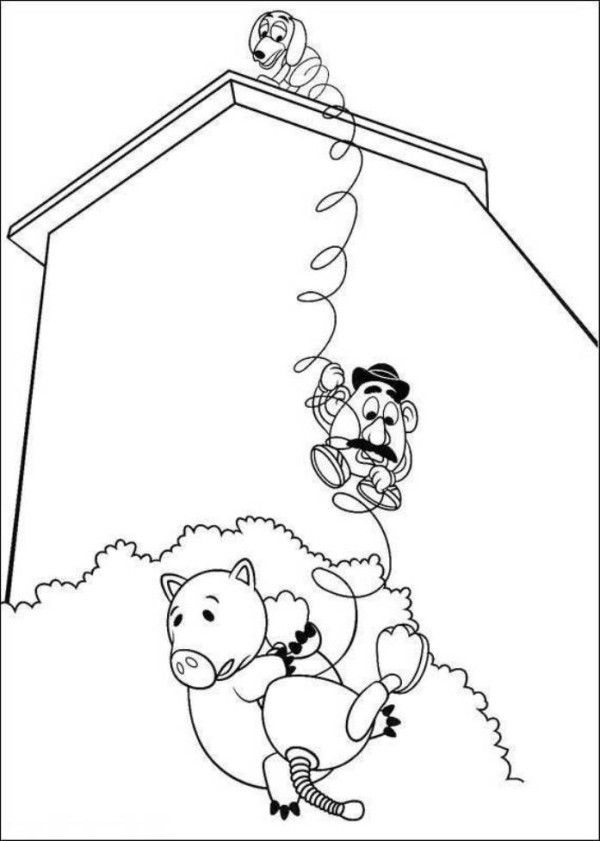 Hamm Mr Potato Head And Slinky Dog Toy Story 3 Coloring Pages ...