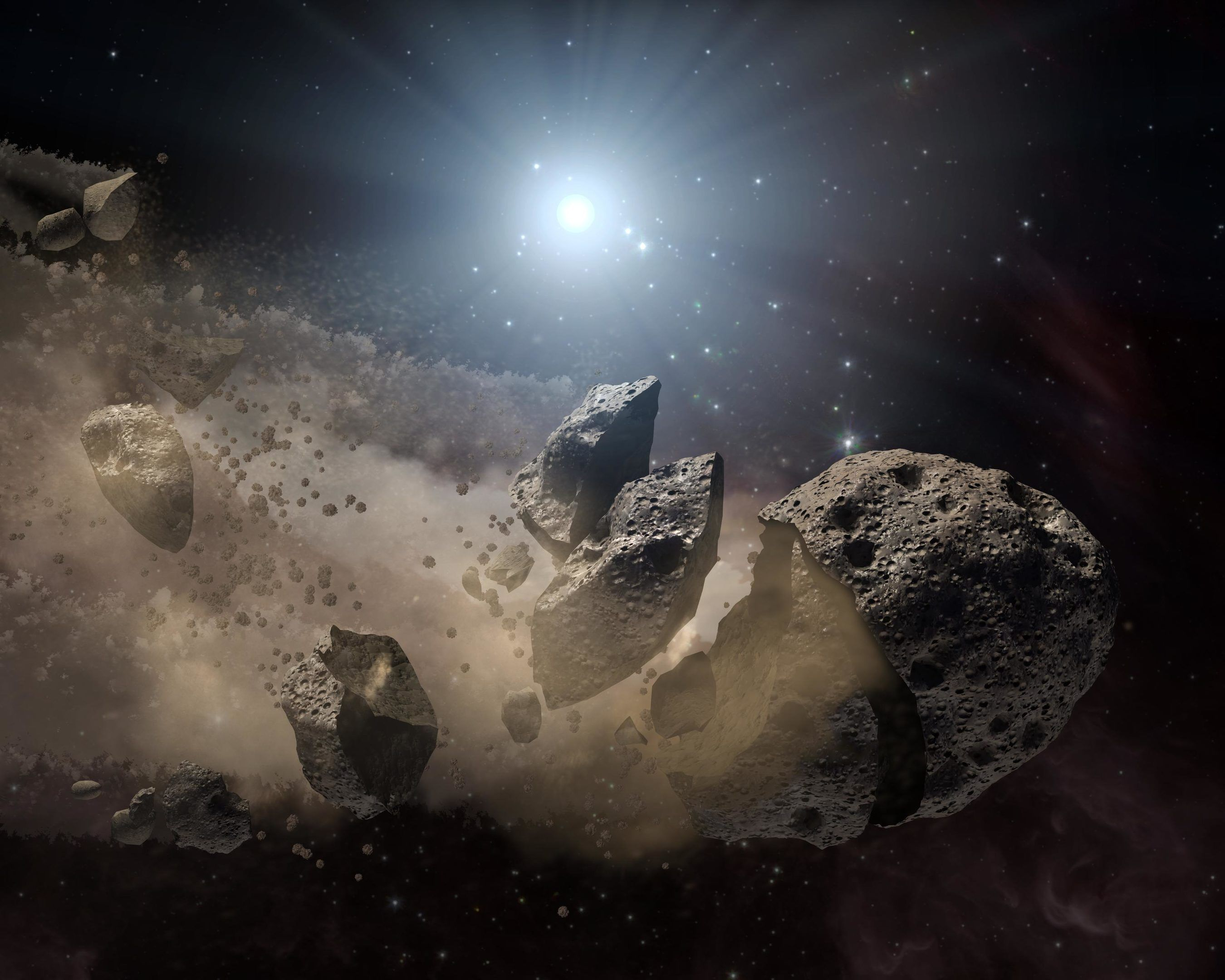 Asteroid Bites The Dust Around Dead Star Artist Concept Space Planets Asteroid Belt Space Rock