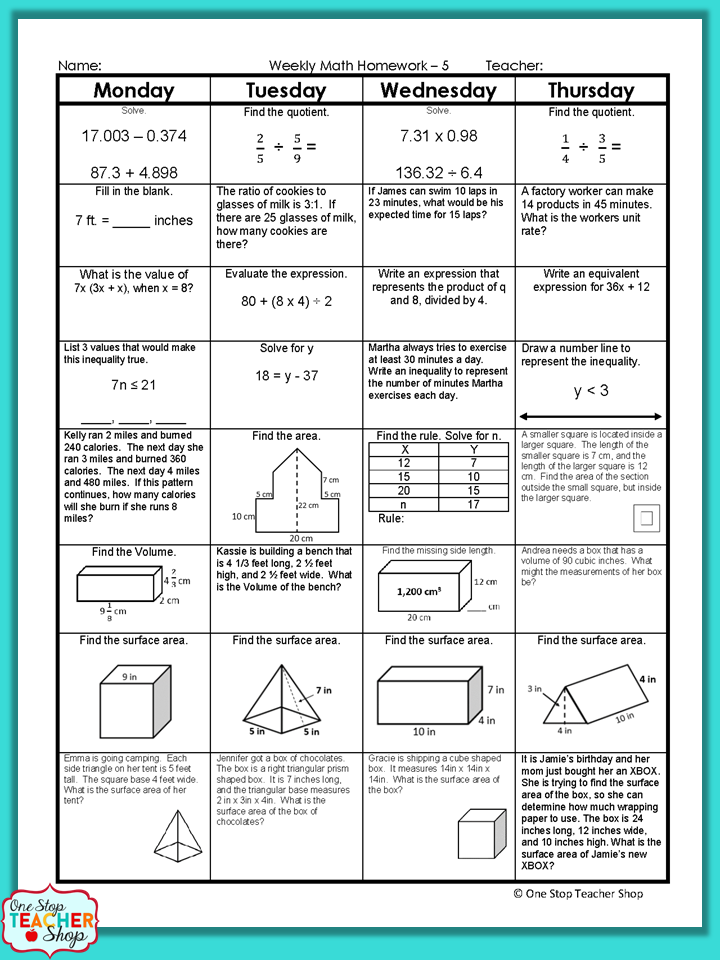 6th Grade Math Spiral Review | 6th Grade Math Homework or ...