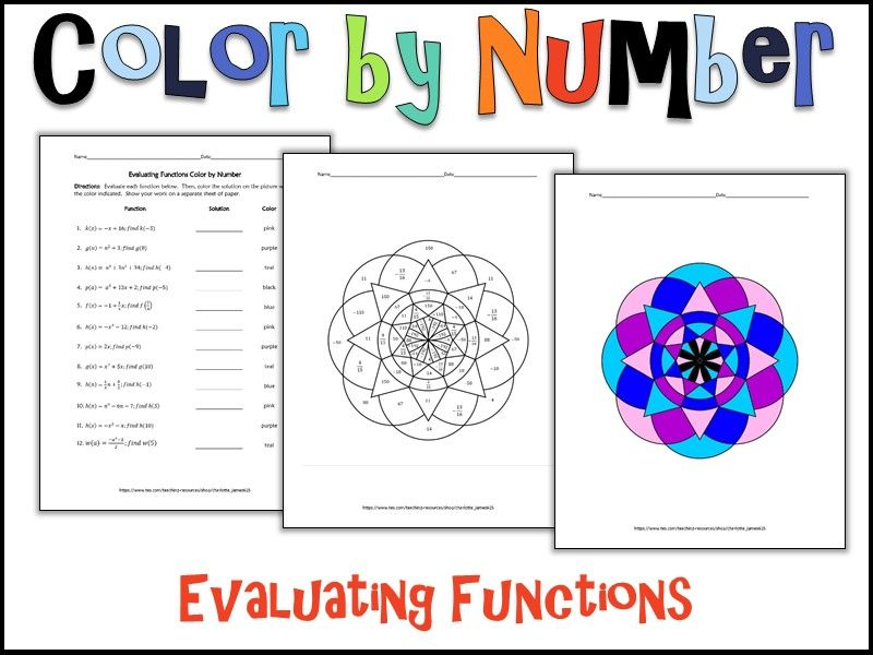 Evaluating Functions Color by Number Secondary Math