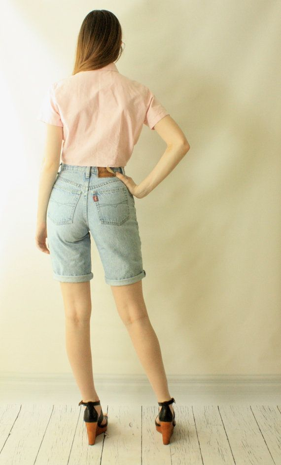 a60bea5165a Z CAVARICCI High Waist 80s Vintage Denim Bermuda Shorts    80s 90s BLUE  JEAN Faded Tight Skinny Knee Length Surfer Shorts