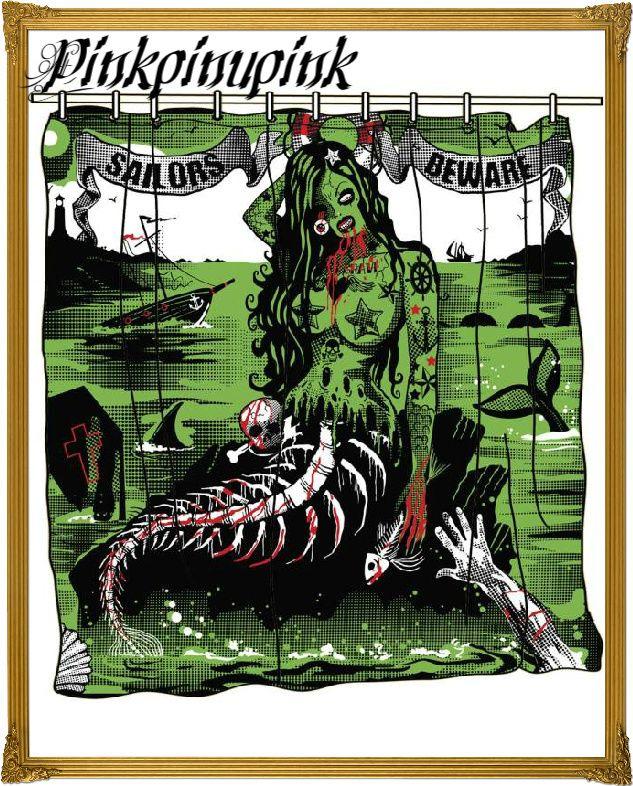 Tattoo Sailors Beware Shower Curtain Mermaid Pinup Zombie Punk Too