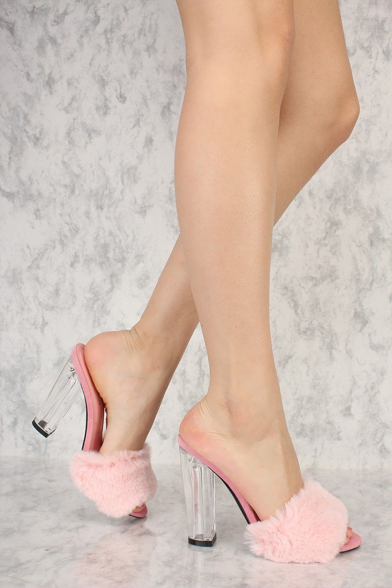 0fc16625ddbe Pink Open Toe Faux Fur Detailing Slip On Clear Chunky Heels ...