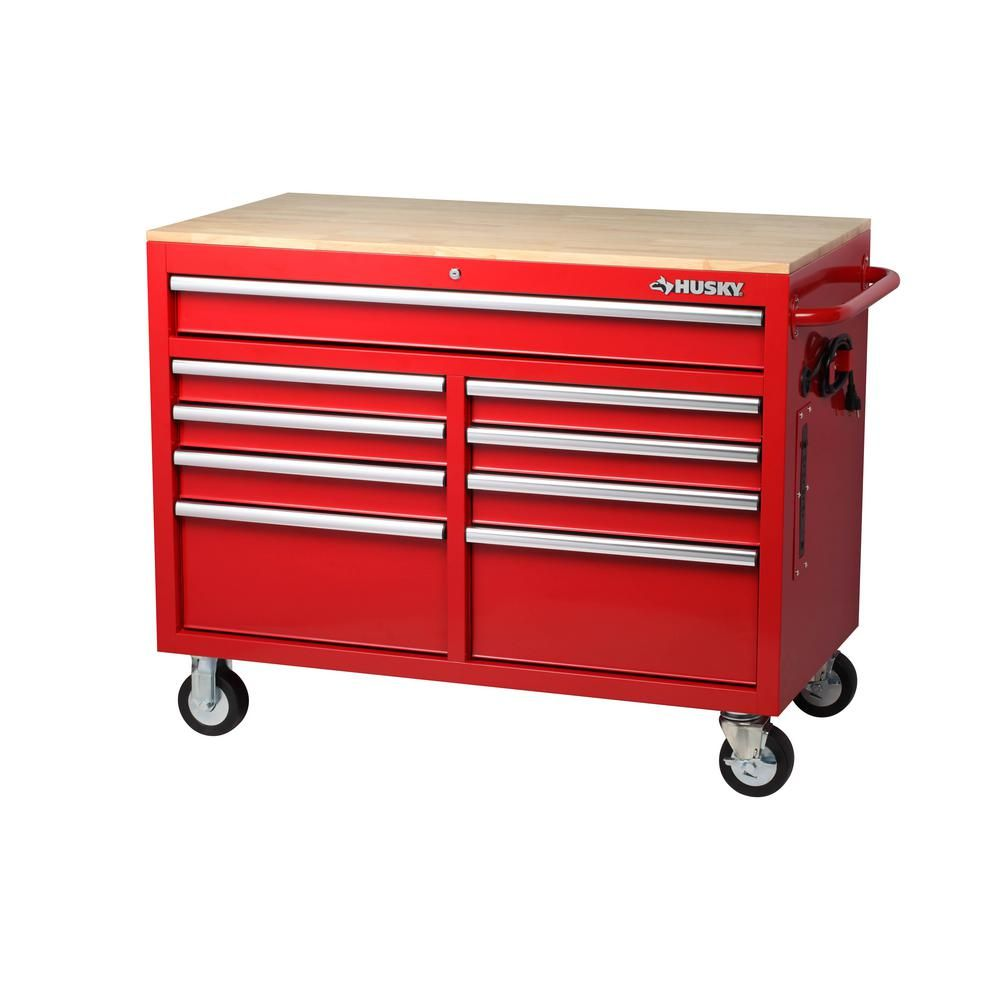 Husky 46 in. W x 24.5 in. D 9-Drawer Mobile Workbench with ...