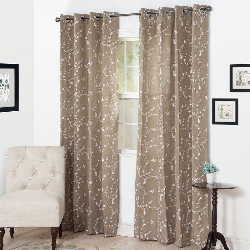 Budding Nature/Floral Semi-Sheer Grommet Single Curtain