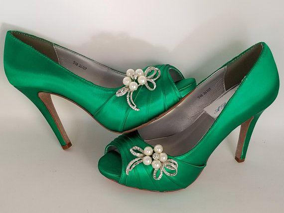 d58099f5df6a9 ... Emerald Green Wedding Shoes Emerald Green Bridal Shoes 100 Colors  Dyeable Bridal Shoes Green Bridesmaid Shoes ...
