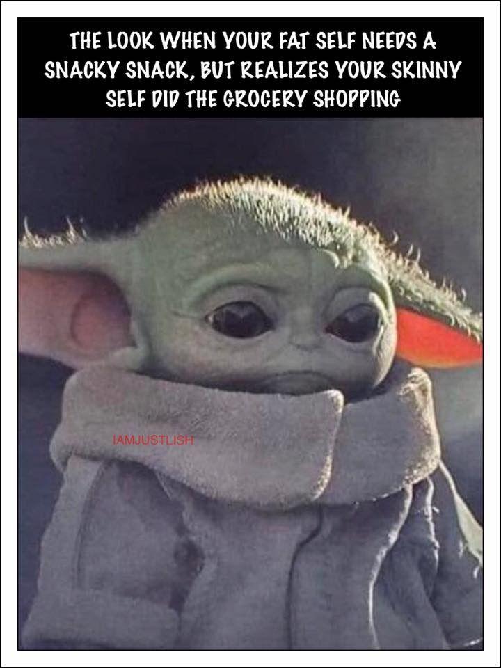 Baby Yoda Skinny Grocery Shopping Yoda Funny Yoda Meme Workout Quotes Funny