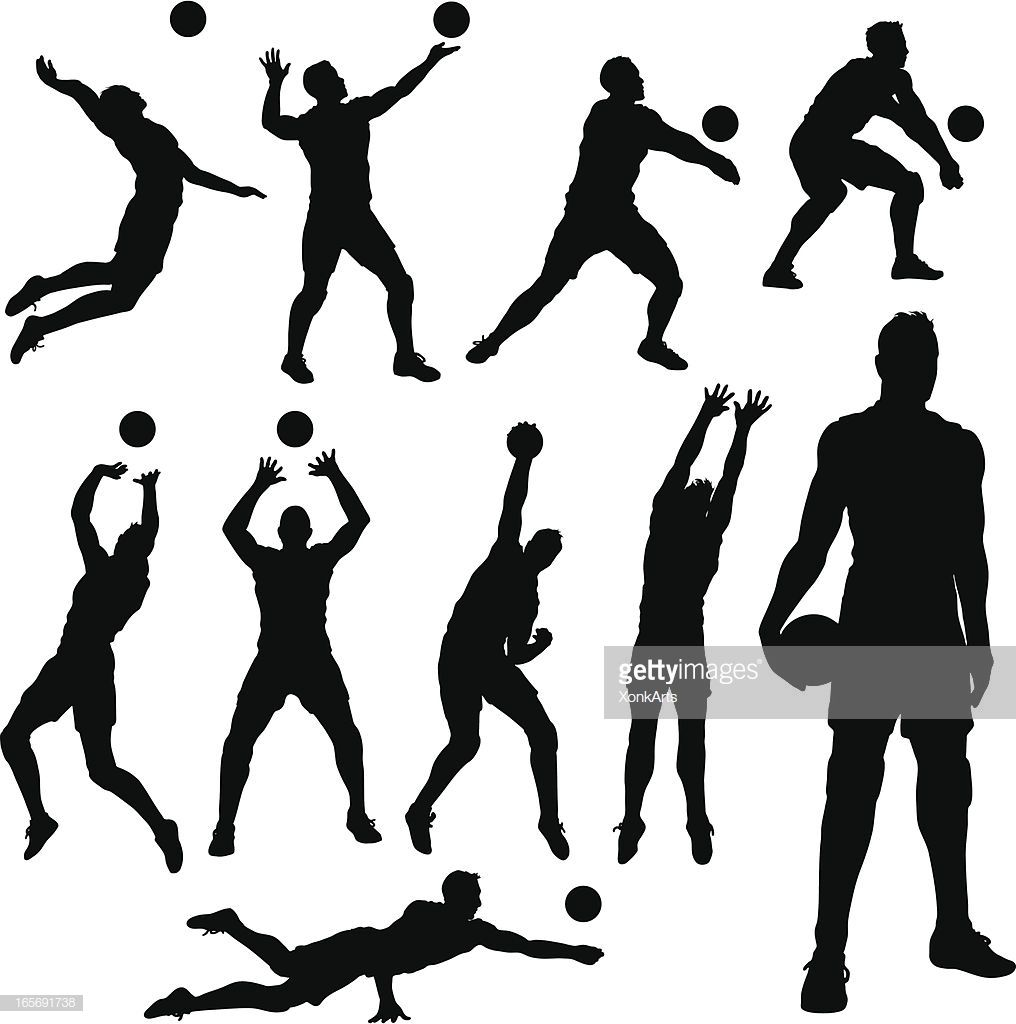 Volleyball Silhouettes Simple Shapes For Easy Printing Separating Volleyball Silhouette Volleyball Poses Volleyball