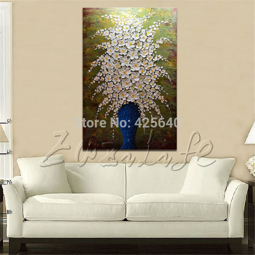 Find more painting calligraphy information about hand painted find more painting calligraphy information about hand painted palette knife white flowers oil painting wall mightylinksfo