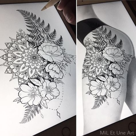 "MiL Et Une ~ Art & Tattoo on Instagram: ""Floral thigh/hip design up for grabs ! Happy to tattoo this at one of my upcoming conventions, otherwise I still have a few spots before…"""