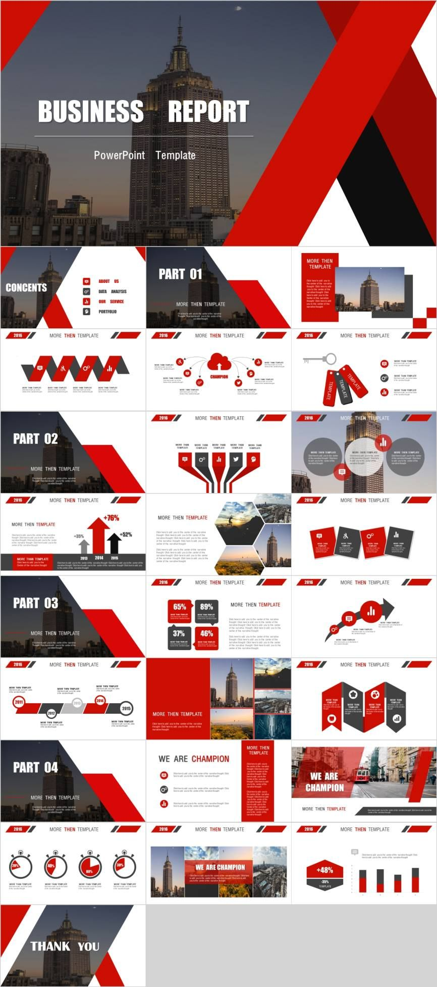 Red creative business PowerPoint template