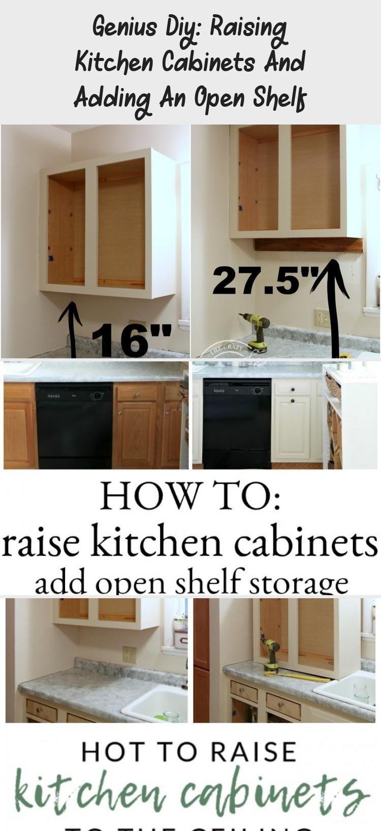 Genius Diy Raising Kitchen Cabinets And Adding An Open Shelf Kitchen Cabinets Cheap Kitchen Cabinets Diy Kitchen Decor