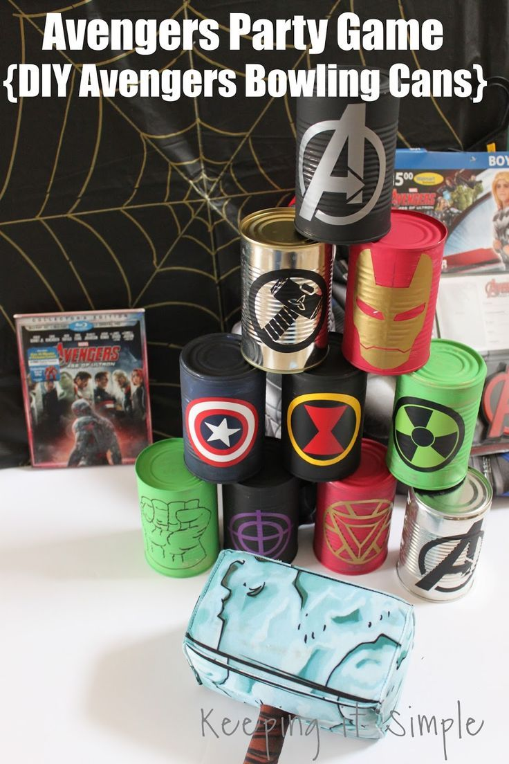 Avengers Party Game- DIY Avengers Bowling Cans perfect for an Avenger party or a Halloween costume party
