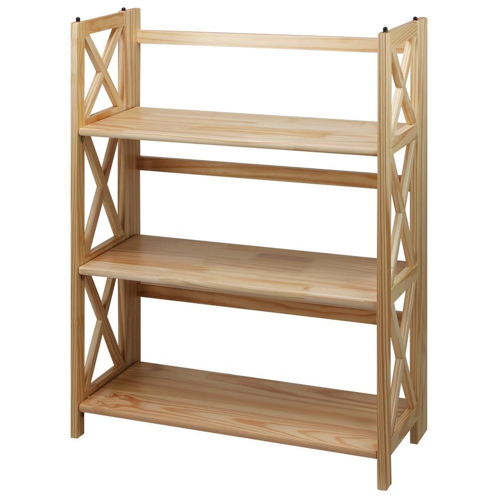 Casual Home X Design Natural 3 Shelf Folding Bookcase Shelves Bookcase Home Office Furniture