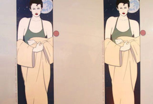 37cab1d25901 Standing Lady - Wasserman Print 1980 Uncut Double Panel Serigraph  Silkscreen by Patrick Nagel Hand Signed