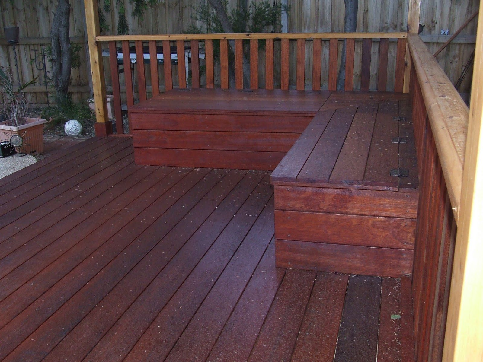 L Shaped Wood Decking Seating With Storage Google Search Outdoor Storage Bench Patio Storage Bench Patio Storage