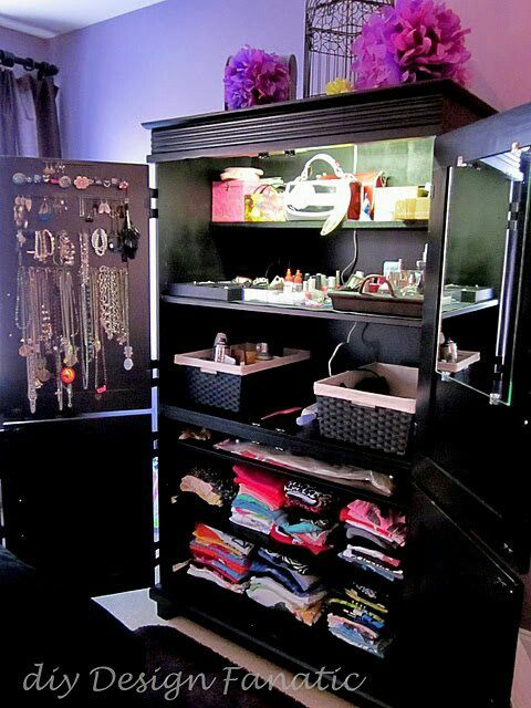 Repurpose Armoire.  I don't have room to do this in bedroom but have an old TV armoire that could surely be repurposed for better use like bar or music station in living room or china storage/wine bar in dining room