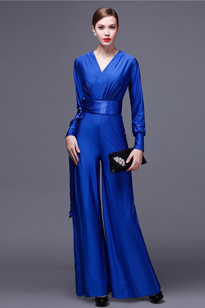 ac9c56bce48e Modest V Neck Long Sleeve Royal Blue Jersey Formal Occasion Jumpsuit With  Sash