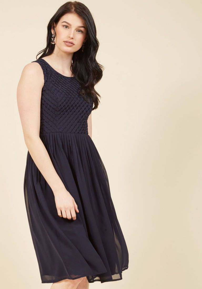cc45517b86 Stay and Sway Midi Dress in Navy in XS - Sleeveless A-line by ModCloth -  Plus Sizes Available