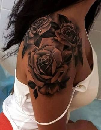 Image Result For Black Rose And Butterfly Tattoo Tattoos Cool Tattoos For Girls Rose Shoulder Tattoo
