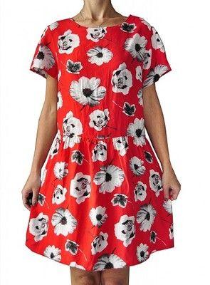 Atmosphere Czerwona Sukienka W Kwiaty 46 48 6570284280 Oficjalne Archiwum Allegro Short Sleeve Dresses Dresses With Sleeves Fashion