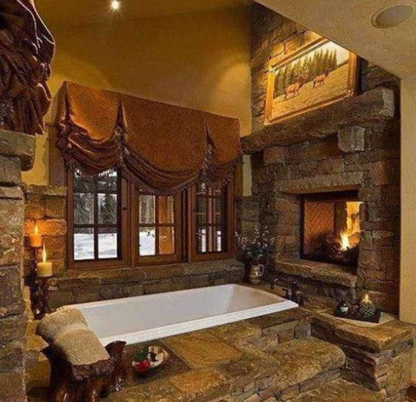 Rustic Master Bathroom, Stone Bath, Log Cabin Kitchens