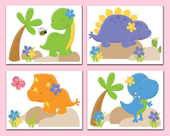 Kids Dinosaur Wall Art Prints Room Bathroom Decor Baby Boy Dino Nursery T Rex