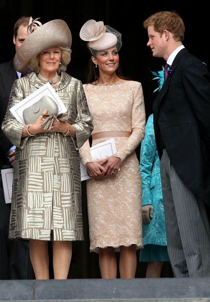 Camilla Parker Bowles, Kate, Duchess of Cambridge and Prince Harry attend a church service to conclude the Diamond Jubilee celebrations.  The only person not in attendance was Prince Philip, Duke of Edinburgh, who spent the night in hospital with a bladder infection.