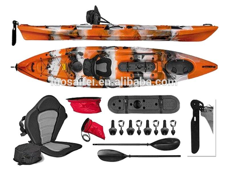 Lldpe cheap fishing kayaks boat with pedal and rudder for Fishing kayak with foot pedals