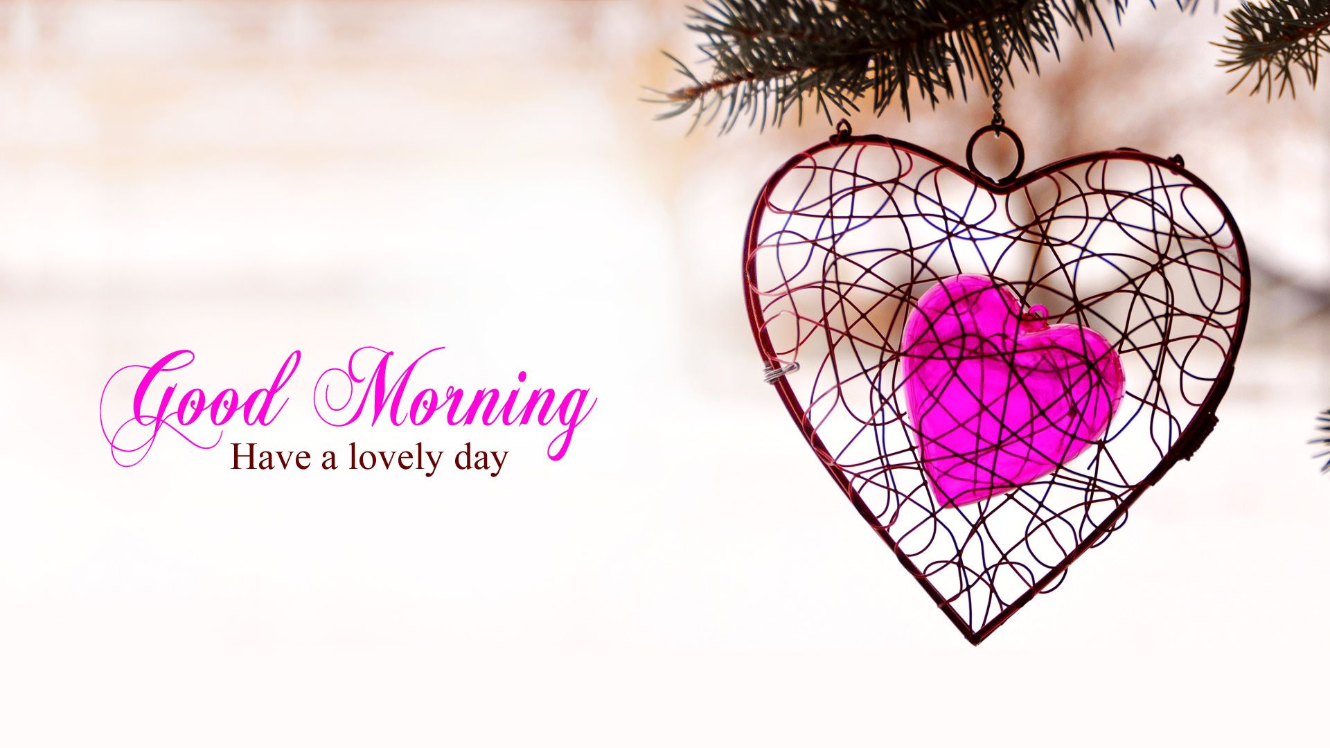 Special Good Morning Wallpaper For Lovers With Pink Heart You Can Use It Also On Valentines Day Goodmorning Love