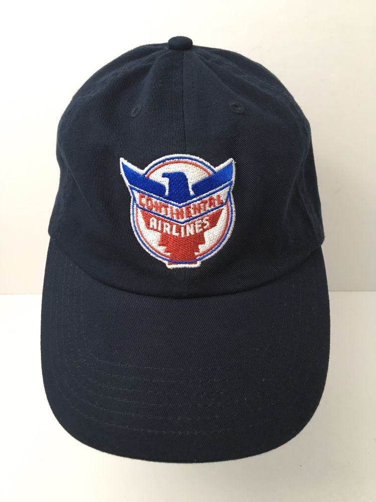Vintage Continental Airlines Cap Hat Retro Logo Embroidered Blue Strapback  EUC Retro Logos 099bc23056e