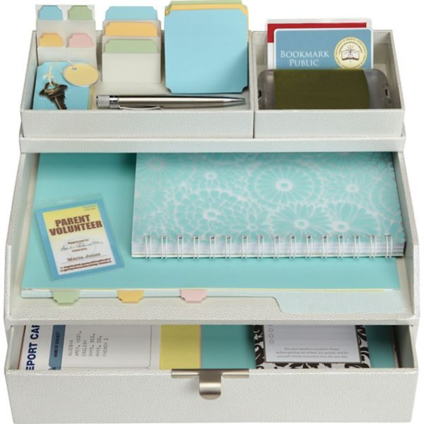 Martha Stewart Home Office™ with Avery™ Stack+Fit™ Shagreen Drawer With Inbox, White | Staples