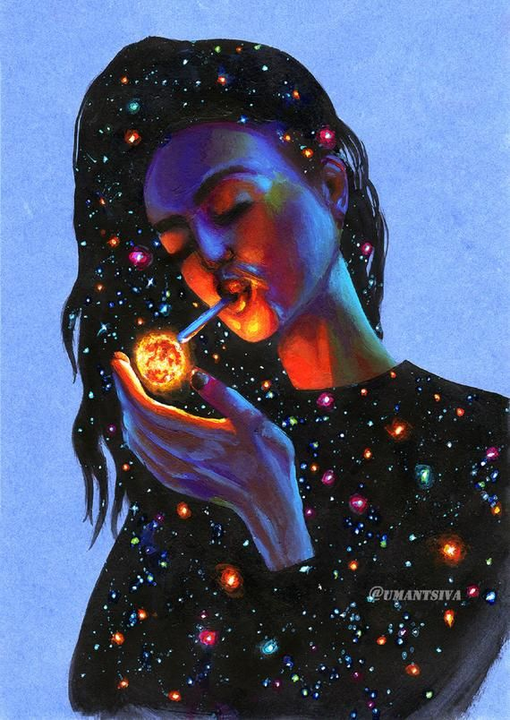 Exclusive print on canvas, embellished print, canvas reproduction, psychedelic painting, giclee print, girl smoking galaxy, cosmic painting