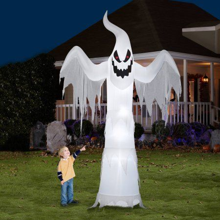 Gemmy airblown inflatable 12 39 x 7 5 39 giant ghost halloween for Air blown decoration