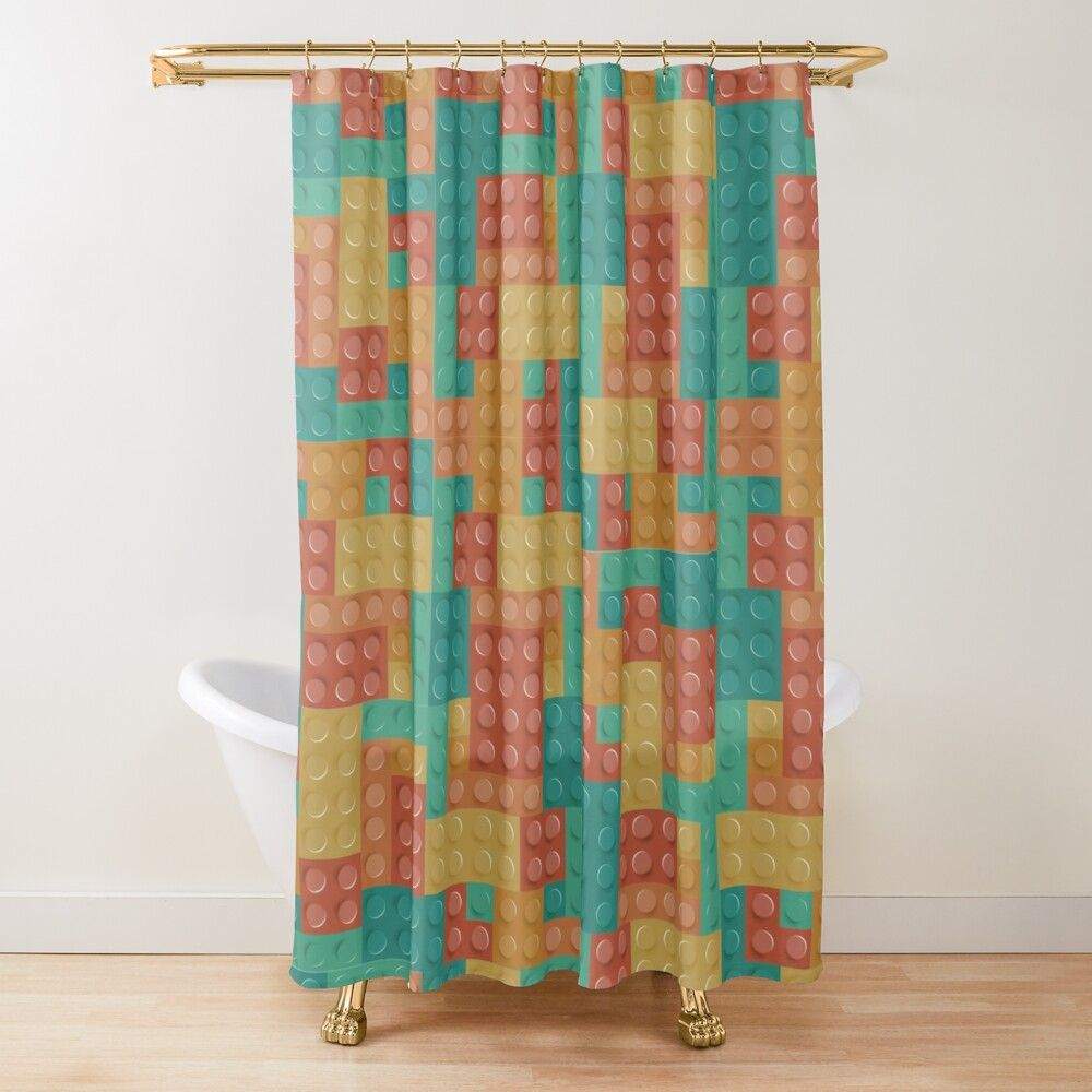 Lego Bricks Pattern Rustic Riverbed Shower Curtain In 2020