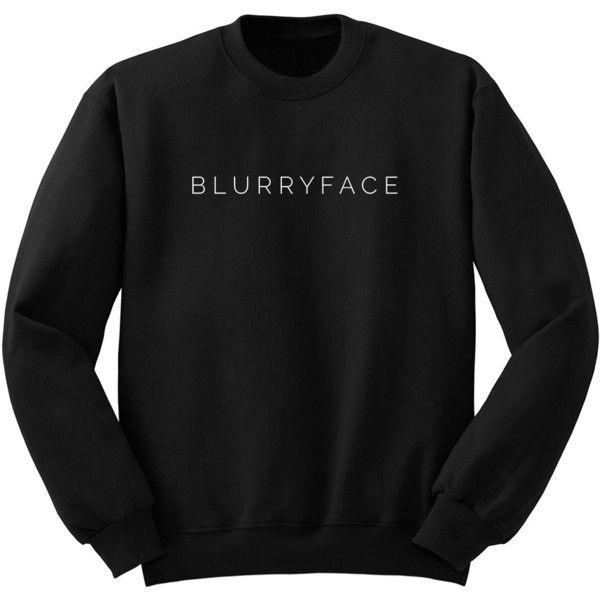 Twenty One Pilots Blurryface Band Shirt Tumblr Crew Neck Sweatshirt... ($24) ❤ liked on Polyvore featuring tops, hoodies, sweatshirts, black, women's clothing, woven shirt, long shirts, crew-neck sweatshirts, long tops and long line shirt