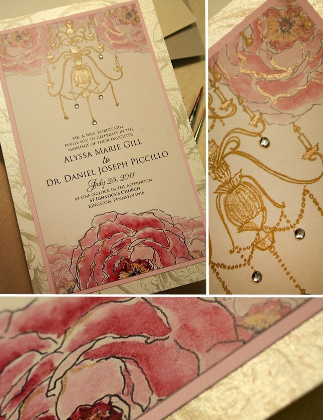 17 Best images about Pink and Gold – Gold and Pink Wedding Invitations